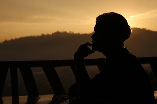 Sunset, People, Backlit, Adult, Silhouette, Man