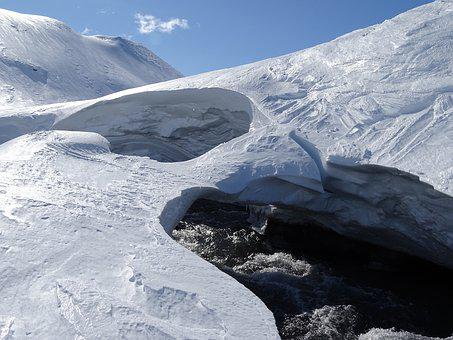 Mountains, River, Winter, Landscape, Nature