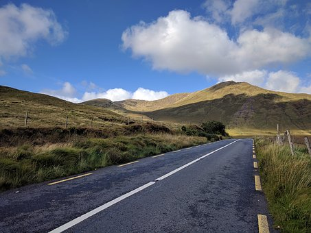 Ireland, Connemara, Road, Sky, Hill, Clouds