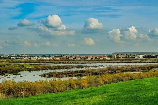 Lake, Swamp, Nature, Sky, Clouds, Panoramic, Landscape