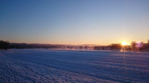 Sunset, Nature, Dawn, Water, Sun, Dresden