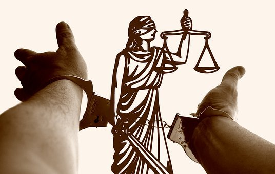 Justitia, Horizontal, Hands, Handcuffs, Suspect, Crime