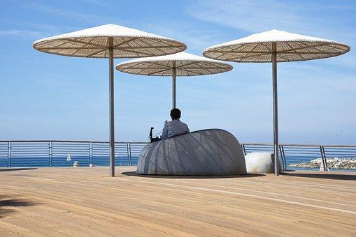 Beach, Sea, Water, Sky, Umbrella, Tel Aviv, Sun, Summer