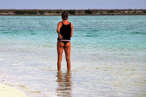 Beach, Indian Ocean, Girl, Bikini, Water, Maldives