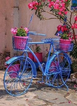 Flower, Basket, Bike, Colorful, Wheel, Summer, Greece