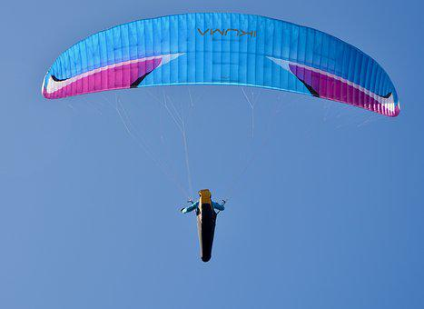 Paragliding, Paraglider, Fly, Flight, Air, Sailing Blue