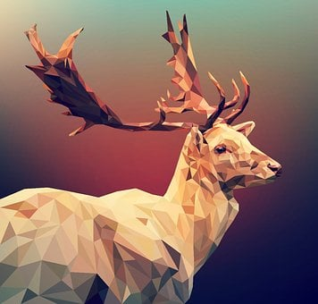 Deer, Polygon, Poly, Low, Christmas, Illustration