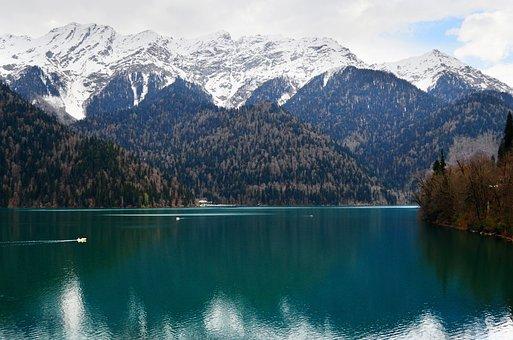 Abkhazia, Lake Ritsa, Mountains, Nature