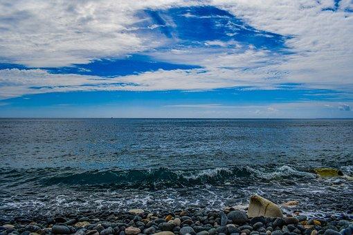 Pebble Beach, Nature, Sea, Sky, Clouds, Wave, Seascape