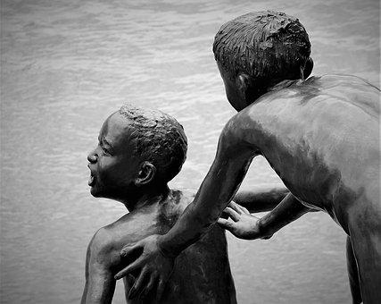 Two, People, Water, Children, Playing, Sculpture