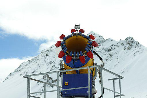 Snow Cannon, Winter, Snow, Runway, Snow Making System