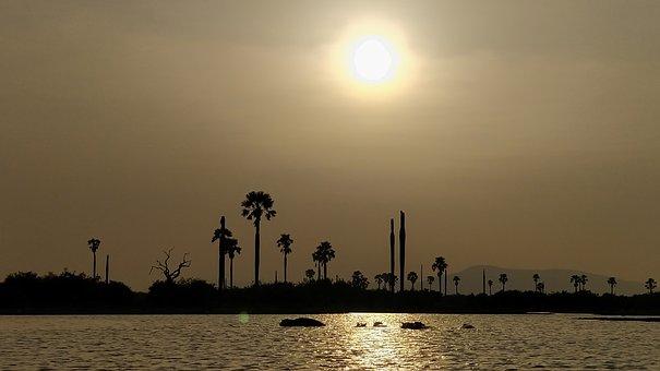 Sunset, Water, Sun, Silhouette, Africa, Tanzania
