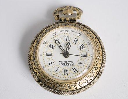 Clock, Wrist Watch, Antique, Minute