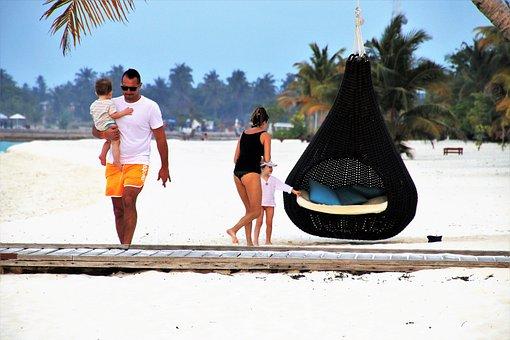 Family, Maldives, Relax, Sand, Beach, Sea
