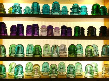 Shelf, Stock, Collection, Insulators, Glass, Shelves