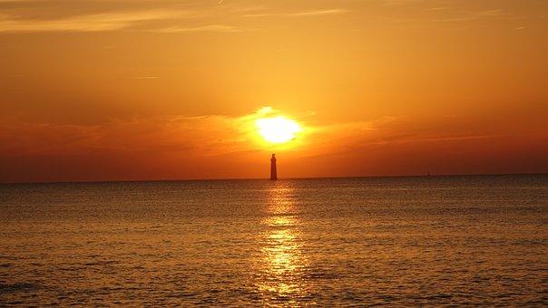 Sunset, Lighthouse, Atlantic Ocean