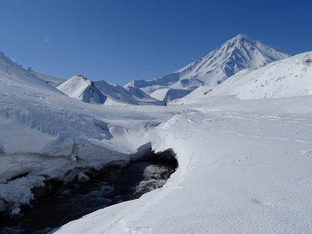 Volcano, Mountains, Mountain River, Winter, Snow