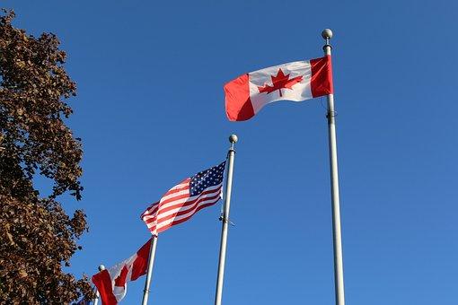 Flag, Patriotism, Pole, Outdoors, Wind, Windsor Ontario
