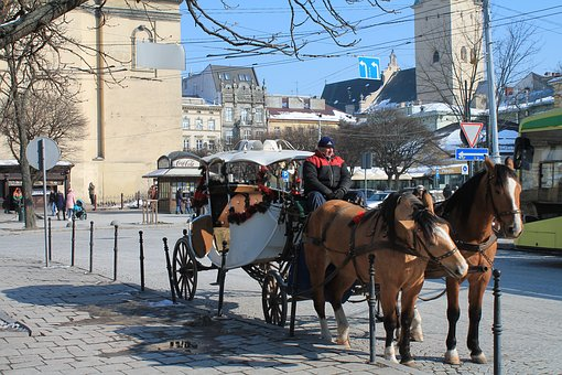 Street, Megalopolis, People, Road, Coach, Horses, Horse