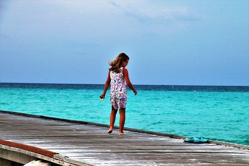 Maldives, Child, Island, Summer, Sea, Wind, Beach