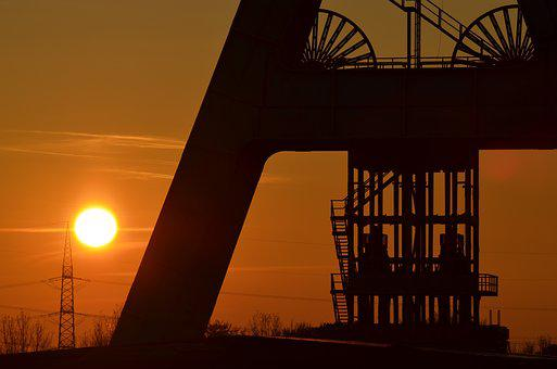 Sunset, Dusk, Sky, Silhouette, Headframe, Bill, Mining