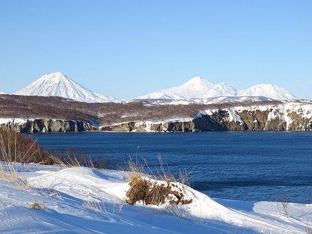 Ocean, Sea, Volcanoes, Winter, Kamchatka, Coast, Stones