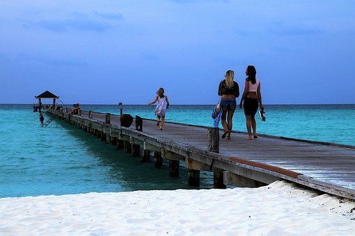 Maldives, Blue Sky, Ocean, The Pier, Beach, Wind, Water