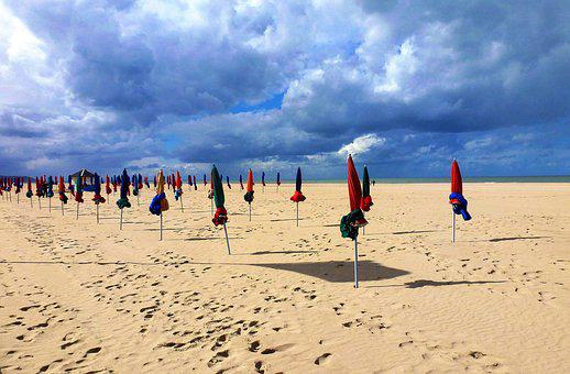 Nature, France, Normandy, The Touquet, Sand, Beach, Sea