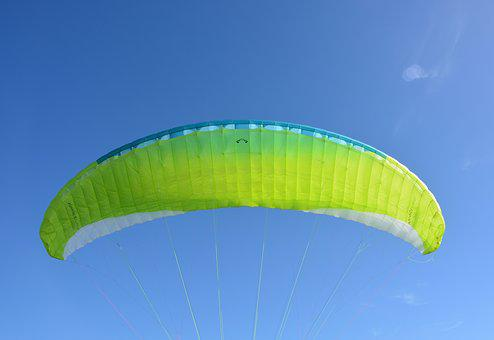 Paraglider Wing, Veil Yellow Green, Blue Sky