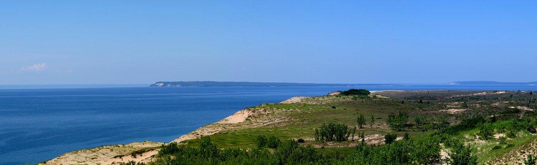 Lake, Panoramic, Nature, Water, Beach, Lake Michigan