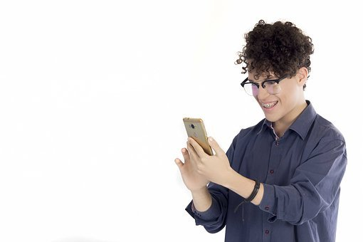 Male, Isolated, People, Mobile, Technology, Guy, Smile