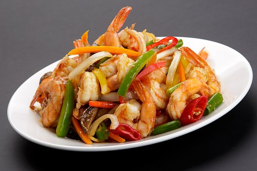 Food, Meal, Vegetable, Dinner, Dish, Chinese Shrimp