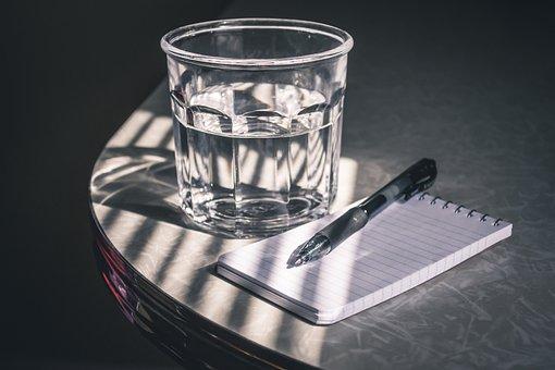 Drink, Glass, Still Life, Pen, Notepad, Formica, Diner