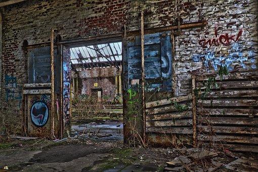 Graffiti, Leave, Architecture, Old, Ruin, Lapsed