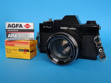 Camera, Lens, Photo Camera, Retro, Antique, Slr