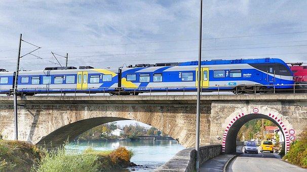 Travel, Waters, River, Bridge, Train, Railway