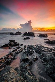 Water, Sunset, Seashore, Sea, Beach, Sky, Ocean