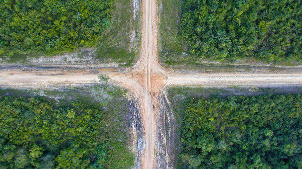 Road, Cross, Crossroad, Drone, Phantom 3, Dji, Square