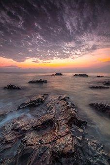 Sunset, Water, Nature, Panoramic, Sky, Dusk, Beach