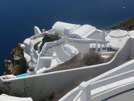 Santorini, Caldera, Blue, Island, Volcano, Greece, Sea
