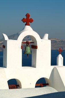 Santorini, Caldera, Blue, Greece, Island, Sea, Volcano
