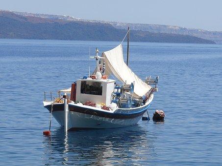Caldera, Volcano, Island, Sea, Boat, Fishing, Blue