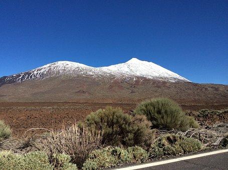 Volcano, Tenerife, Snow, Spain, Mountain, Canary