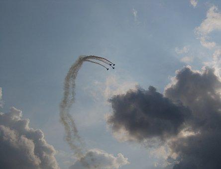 Airshow, Formation, Flying, Aerobatic Display, Sky