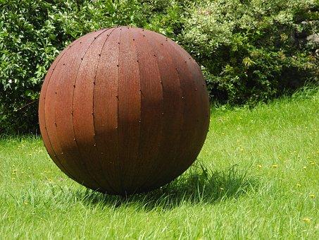 Ball, About, Metal, Rusty, Art, Object, Garden