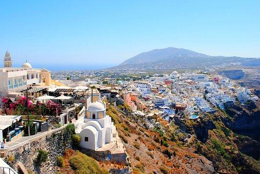 Santorini, Caldera, Cliff, Greece, Sea, Greek, Island