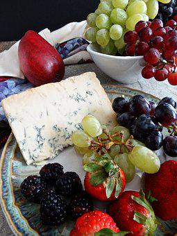 Fruit Plate, Cheese, Blue Cheese, Grapes, Green Grapes