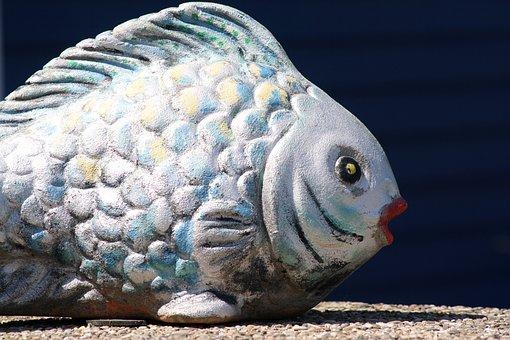 Fish, Sculpture, Scale, Helgoland, Art Object