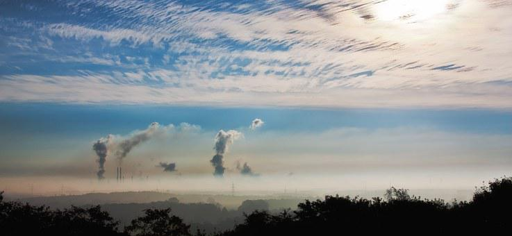 Industry, Sunrise, Clouds, Fog, Germany, Factory, House
