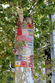 Tree, Knit, Crochet, Embroidered, Colorful, Street Art